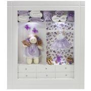 Quadro Porta Maternidade Closet - Floral Lilás