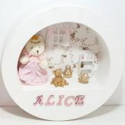 Quadro Porta Maternidade Floral Ursa Rosa  Redondo Com Nome Bebê