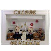 Quadro  Maternidade - Gêmeos Marinheiros  com nome decoração quarto bebê -Nitababy