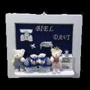 Quadro Porta Maternidade Personalizado - Azul Marinho Família
