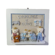Quadro Maternidade com nome  Azul Gêmeos decoração quarto bebê infantil-NitaBaby