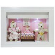 Quadro Porta Maternidade Personalizado - Listra Rosa Família