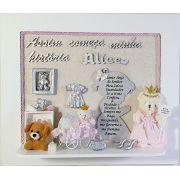 Quadro Porta Maternidade Personalizado Oração Prata com Nome Decoração Quarto Bebê