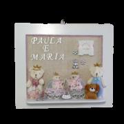 Quadro Porta Maternidade Personalizado - Rosa Gêmeas