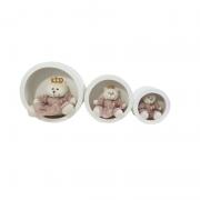 Trio de nicho mdf  branco + trio urso rosa cha   decoração quarto bebê infantil - Nitababy