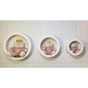 Trio De Nicho Mdf  Branco + Trio Urso Rosa Chá  - Decoração Quarto Bebê Infantil - Nitababy