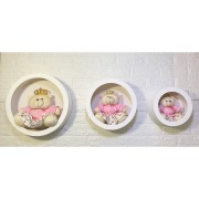 Trio De Ursa Rosa Floral + Nicho de Parede Princesa Decoração Quarto De Bebê-Nitababy