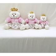 Trio De Ursa Rosa Floral Princesa  Decoração De Quarto Bebê Frete Gratis SP