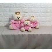 Trio de ursa rosa  lisa  princesa decoração quarto bebê