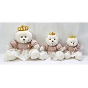 Trio De Urso Princesa Floral Rosa Antigo Decoração Quarto De Bebê Frete Grátis SP
