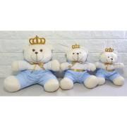 Trio De Urso Principe Azul Claro Para Nicho Decoração Quarto Bebê Infantil - Nita Baby