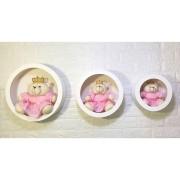 Trio De Ursa Rosa Liso + Nicho de Parede Princesa Decoração Quarto De Bebê-Nitababy
