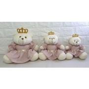 Trio de Ursos Rosa Chá menina  - Decoração quarto bebê