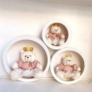 Trio Ursa Com Trio de Nicho de Parede Decoração Quarto Bebê Rosa Cha Floral Princesa