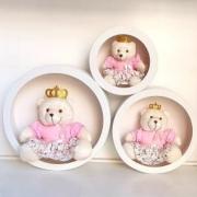 Trio Ursa Com Trio de Nicho de Parede Decoração Quarto Bebê Rosa Floral Princesa