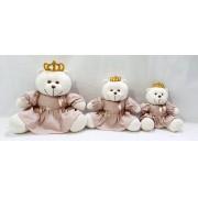 trio de ursa princesa rosa cha liso decoração nicho