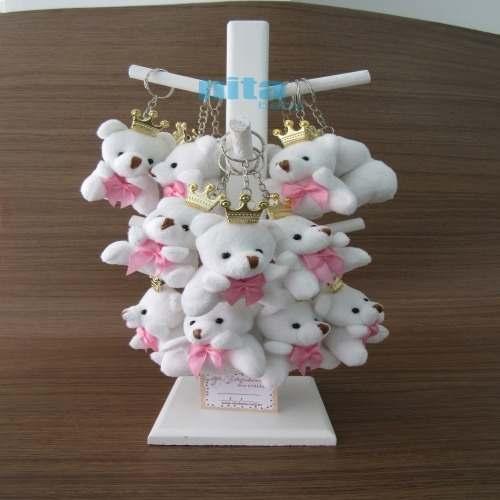 Lembrancinhas Urso Branco com Lacinho Rosa no Cabide