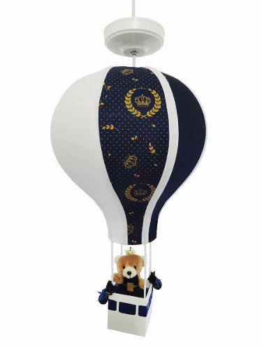 - Lustre Luminária Balão Rei Azul Marinho Decoração Nita Baby