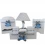 Kit Higiene  Elefante Chevron com Azul  MDF 7 Peças