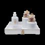 Kit Higiene 5 Peças Porcelana Branca e Ursa Rosa Chá