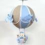 Lustre Bebê De Teto Bola tecido  Azul Claro  Com Avião Menino