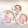 Trio Ursa Com Trio de Nicho de Parede Decoração Quarto Bebê Rosa Floral  Princesa Frete Grátis SP