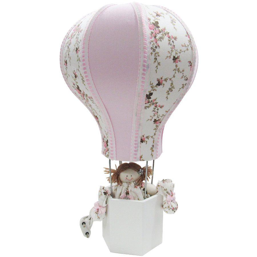 Abajur Decorado Balão - Provençal Escuro e Rosa Bebê