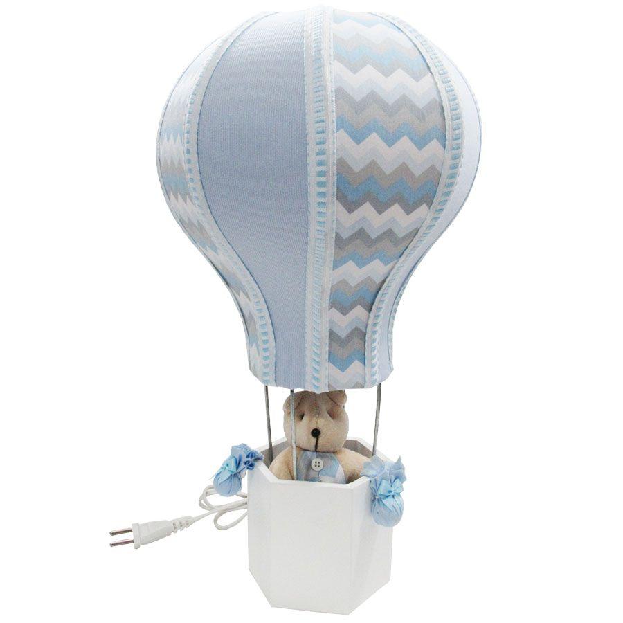 Abajur Decorado Balão - Urso Chevron Azul Bebê