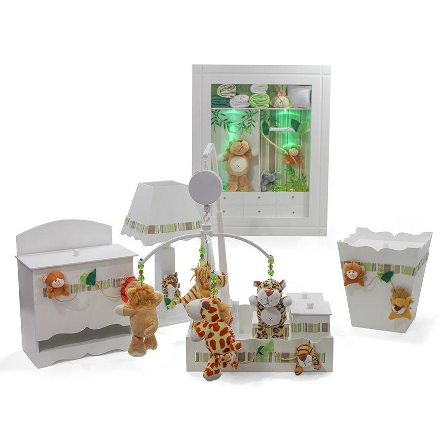 Kit Higiene Combo Porta Maternidade + Mobile Safari Decoração Quarto Bebê Infantil
