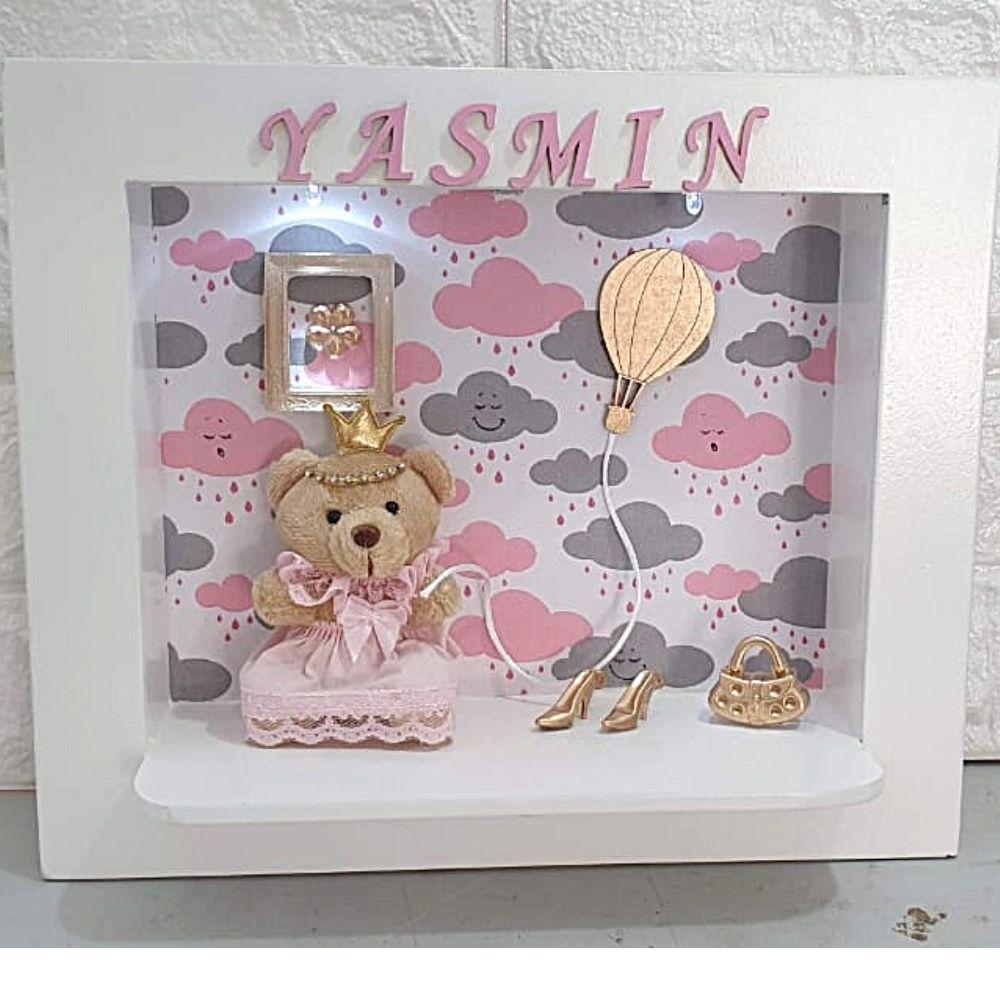 Quadro Porta  Maternidade Ursa Chuva De Bênçãos Rosa