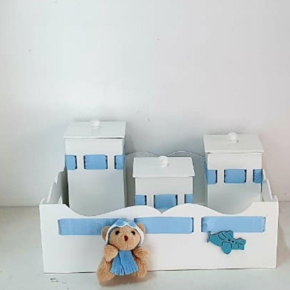kit bebê bandeja com potes azul aviador menino