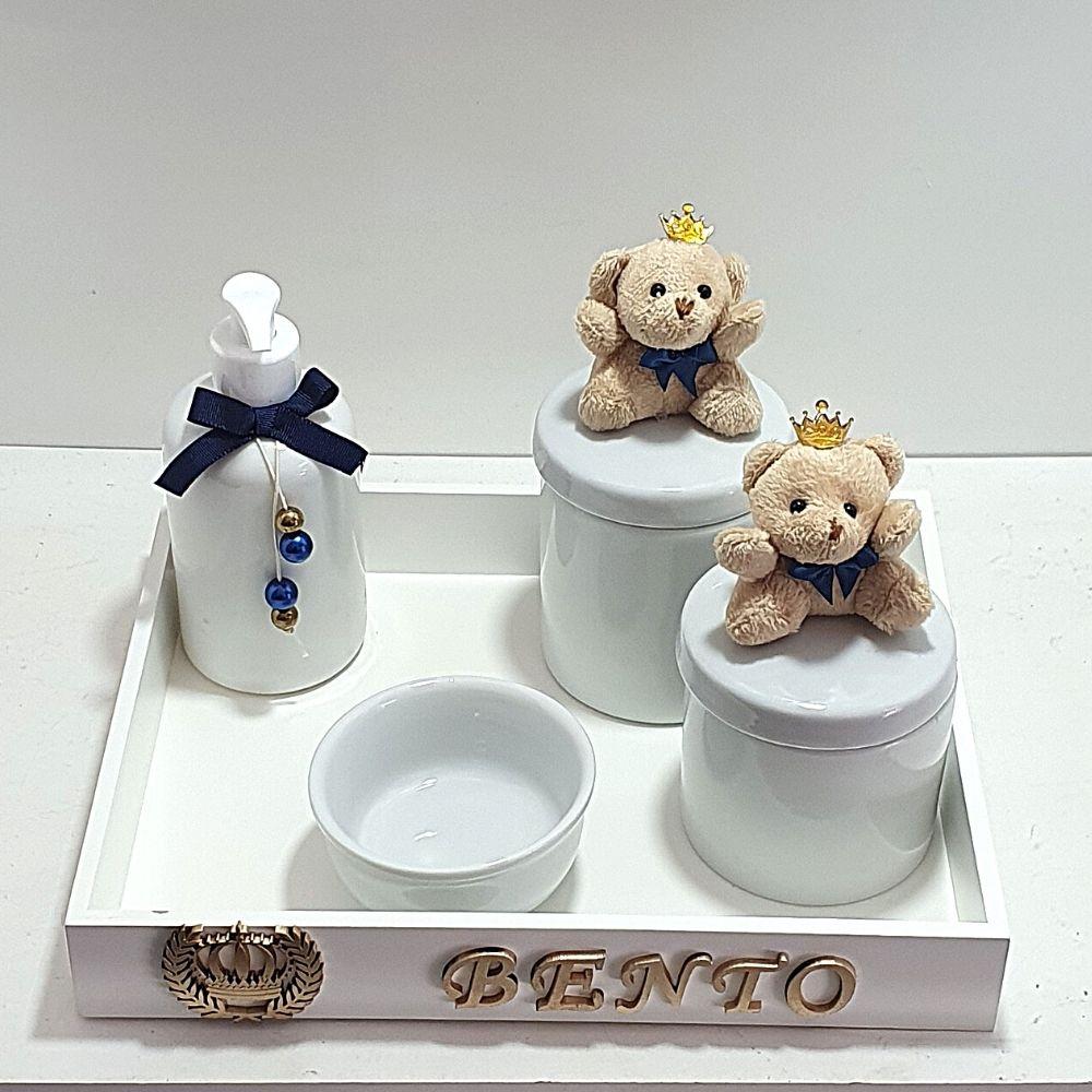 Kit Bebê  Higiene  5 Peças Com Porcelana Urso Rei  Marinho Menino Com Nome