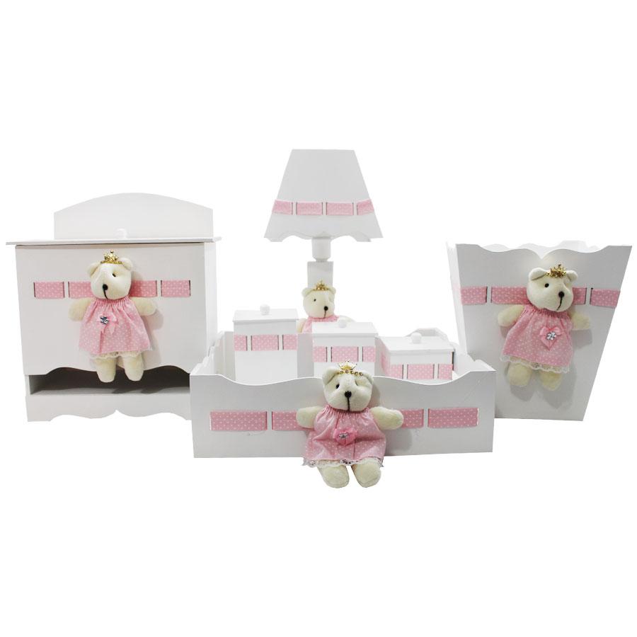 Kit Higiene  Bebê Personalizado 7 Peças MDF Ursa Poa Branco