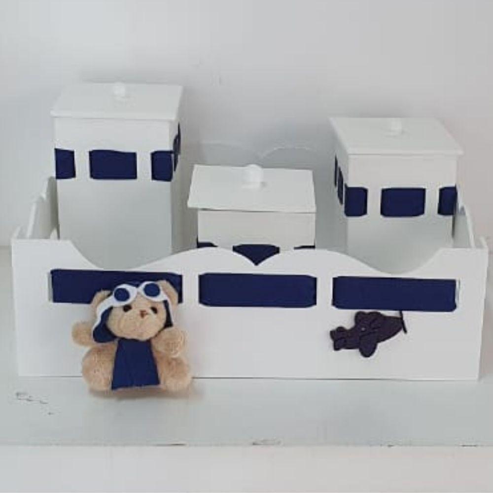 kit Bebê  4 Peças  Mdf Bandeja Com 3 Potes Aviador Azul Marinho