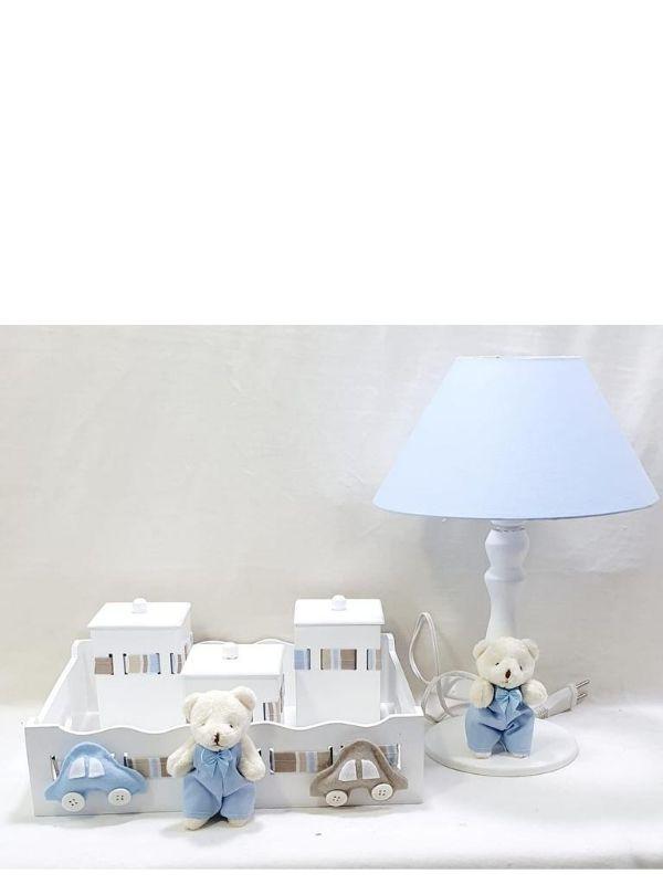 Kit Bebê  5 Peças Menino Carrinho  Azul  Decoração Quarto Infantil