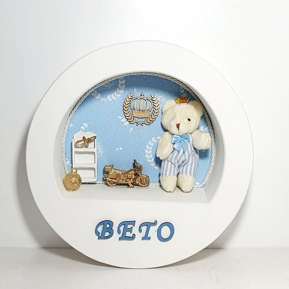 Kit Bebê Porcelana 5 Peças Com Quadro Personalizado Com Nome Príncipe Azul