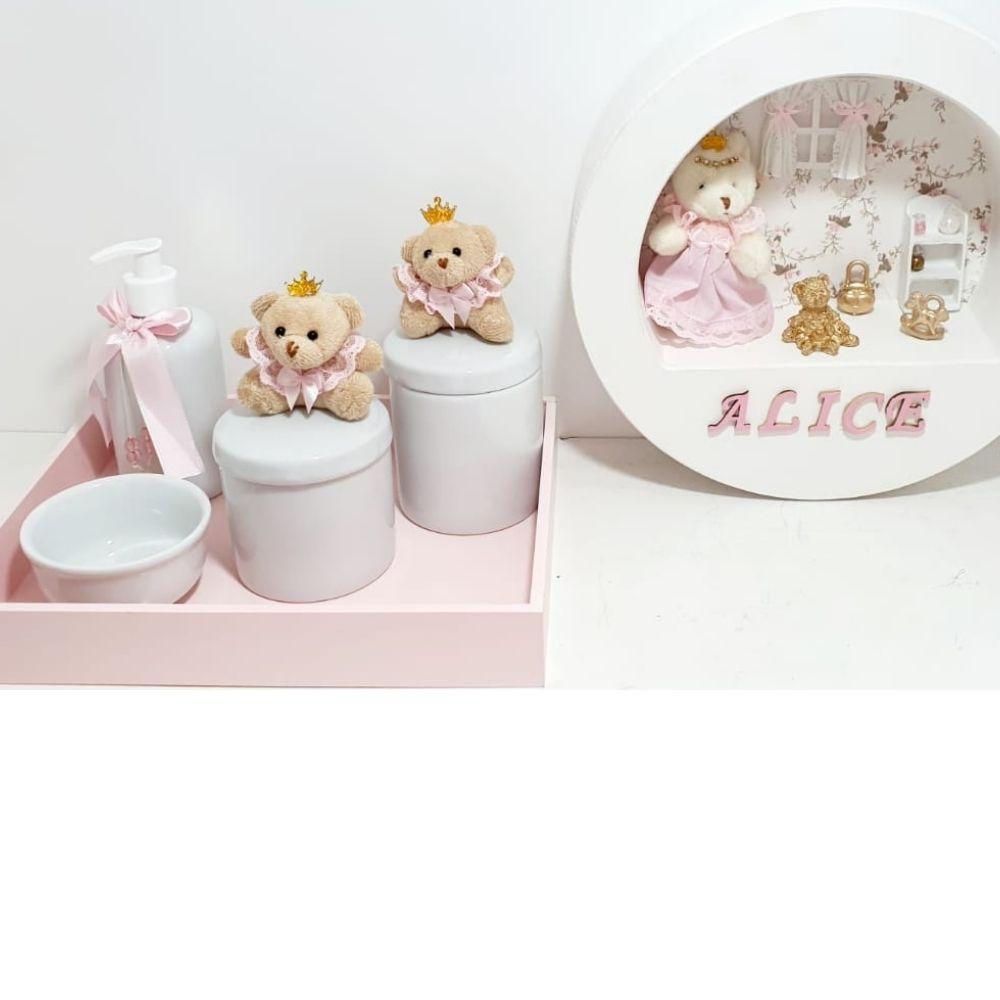 Kit  Bebê Porcelana  Com 5 Peças Mais Quadro  Personalizado Com Nome