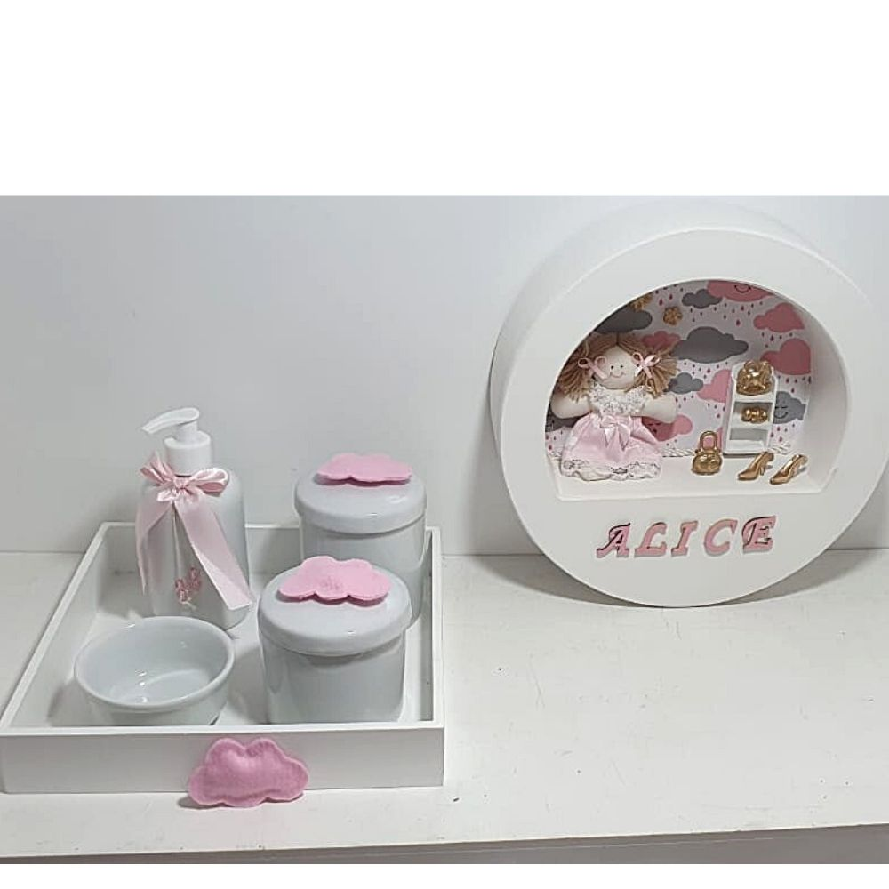 Kit  Bebê Porcelana   Nuvem Com 5 Peças Quadro Porta Personalizado Com Nome