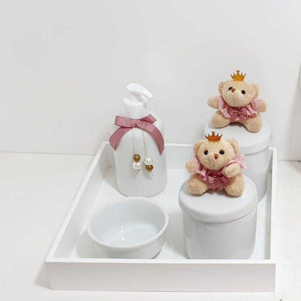 Kit  Bebê Porcelana  Rosa Cha Com 5 Peças Mais Quadro Porta Maternidade Personalizado Com Nome