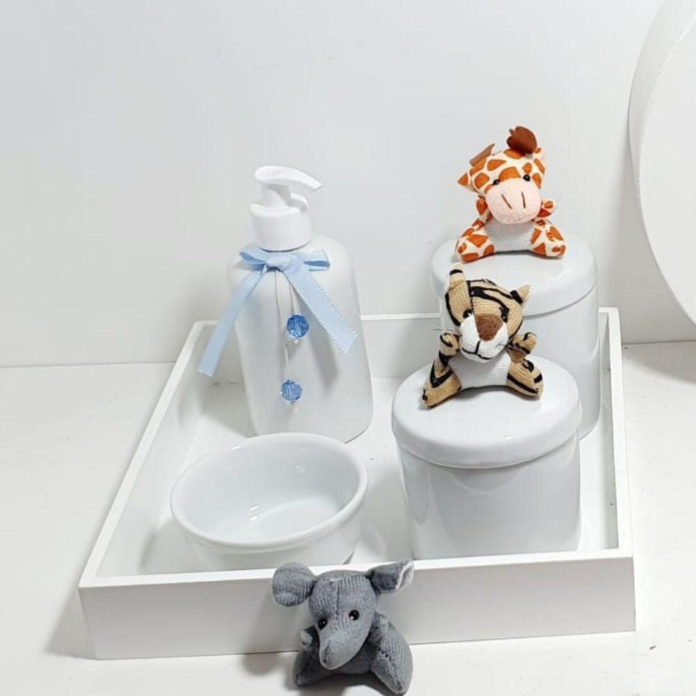 kit Bebê Porcelana Safari Azul Com 5 Peças Mais Quadro Personalizado Com Nome