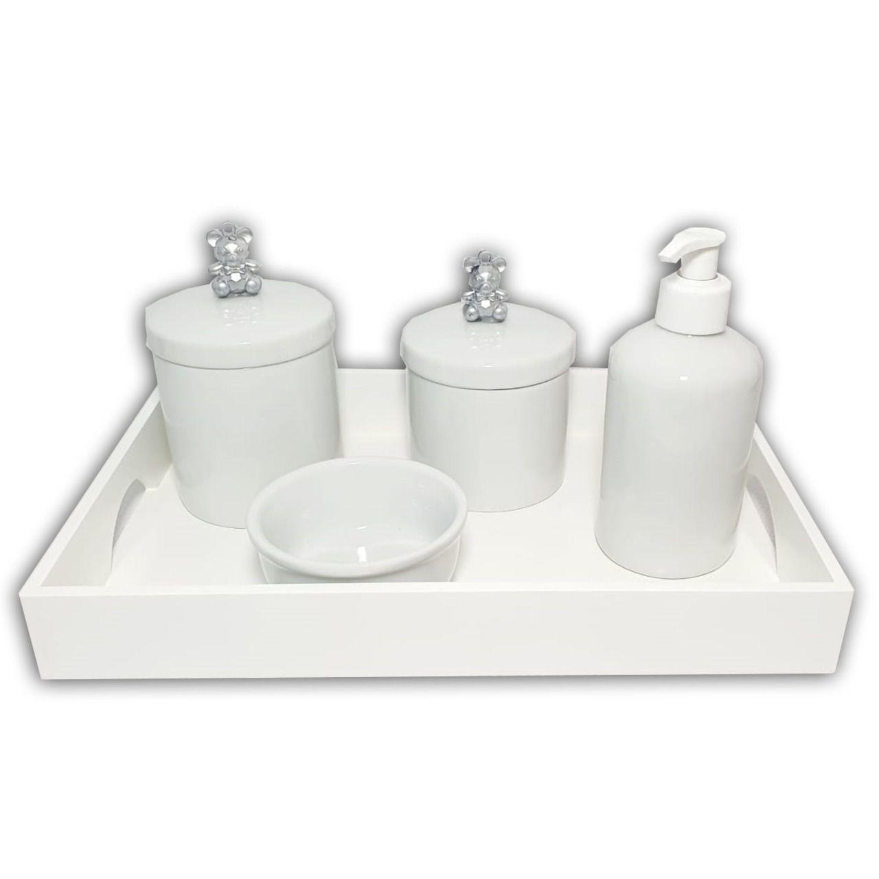 Kit Higiene Porcelana Branca 5 Peças Urso Prata - Decoração Quarto de Bebê