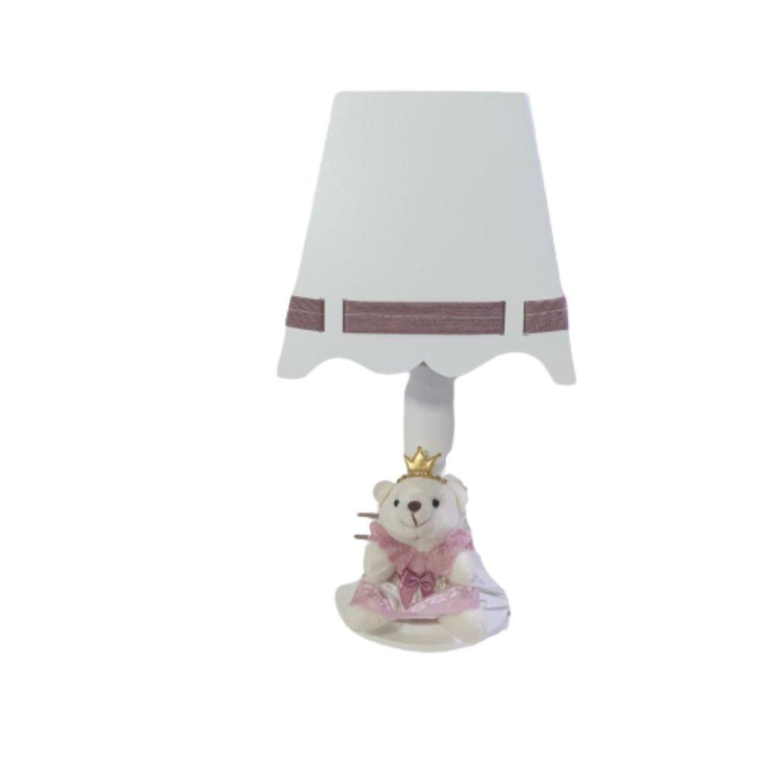Kit  bebê  mdf branco com  ursa rosa cha  menina