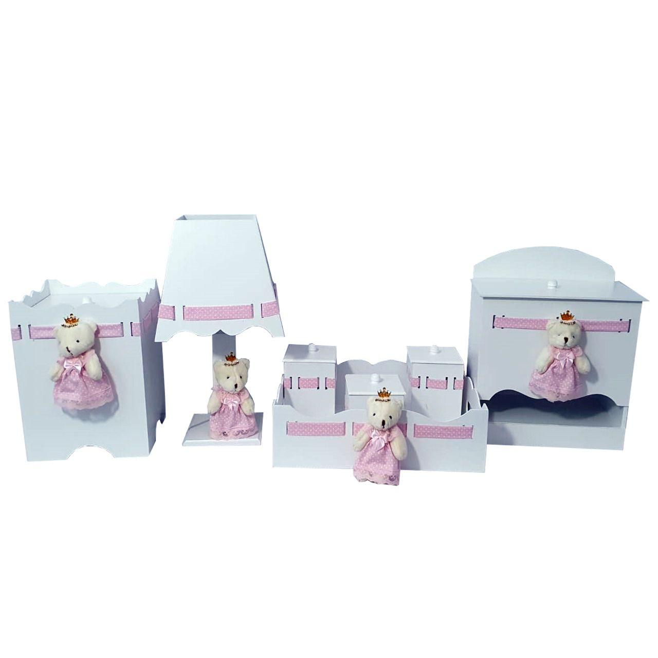kit higiene  7 peças ursa rosa poa  decoração quarto bebê infantil -Nitababy