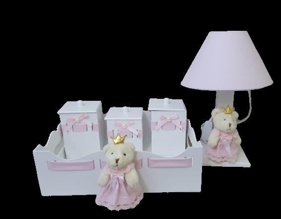 Kit  bebê  higiene    Mdf 5 Peças Ursa  Tecido Rosa Liso