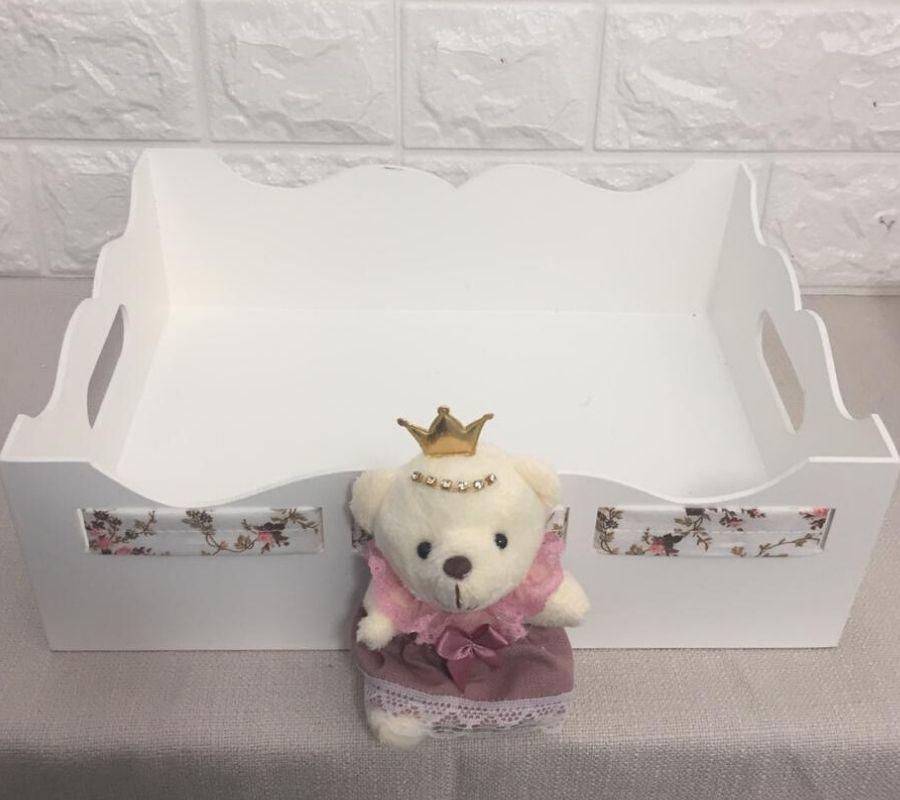 Kit Higiene Bebê mdf menina ursa  provencal rosa cha