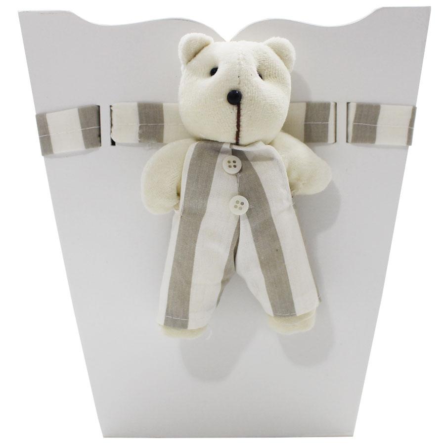 Kit Higiene Bebê Personalizado Urso Listra Bege MDF 7 Peças