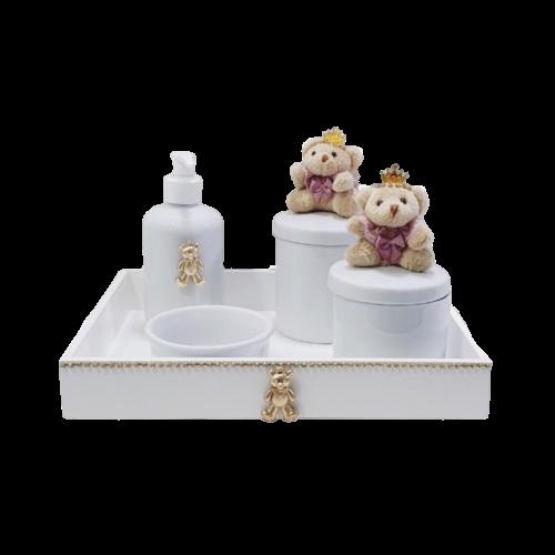 Kit Higiene Com Porcelana Branca e Ursa - Rosa Chá menina
