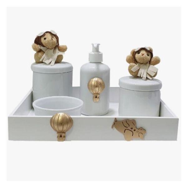Kit Higiene Com Porcelana Urso Aviador Bege menino