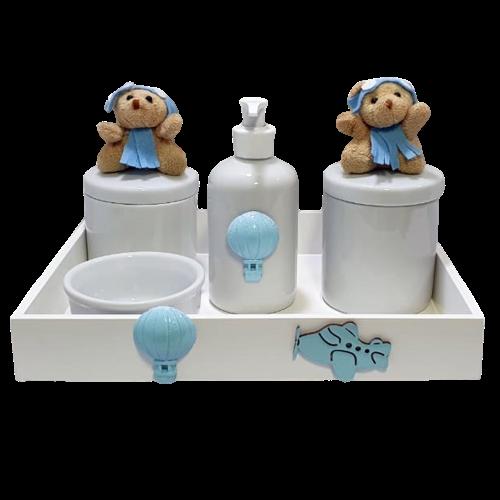 Kit Higiene Com Porcelana Urso Aviador  Decoração quarto Bebê Infantil - Nitababy