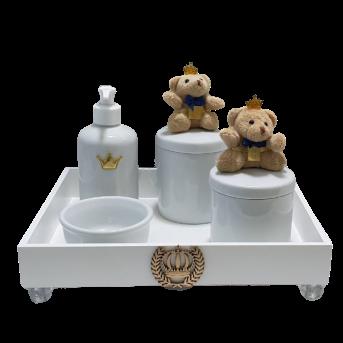 Kit Higiene Com Porcelana Ursoo Rei Decoração Quarto de Bebê Infantil